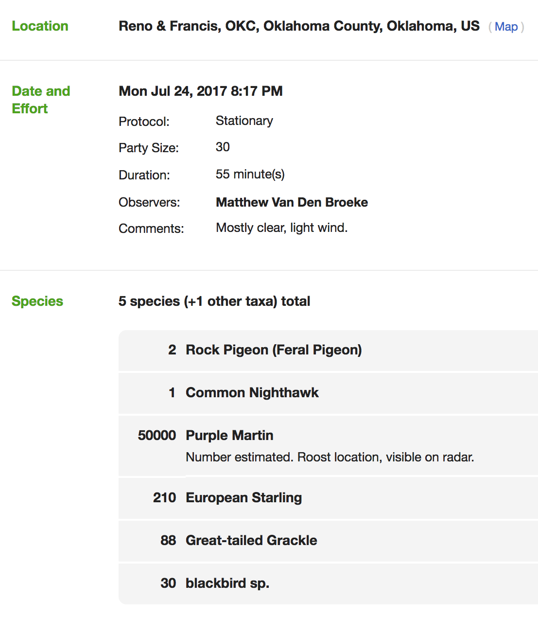 eBird checklist screen grab
